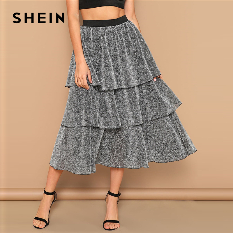 SHEIN Silver Tiered Layer Ruffle Glitter Mid Waist Skirt 2019 Spring Women High Street Casual  Long Full Length Skirts