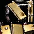 Flip ultra fino espelho caixa de proteção completa para samsung galaxy s6 s6 edge plus capa chapeamento de ouro fresco manga capa fundas coque