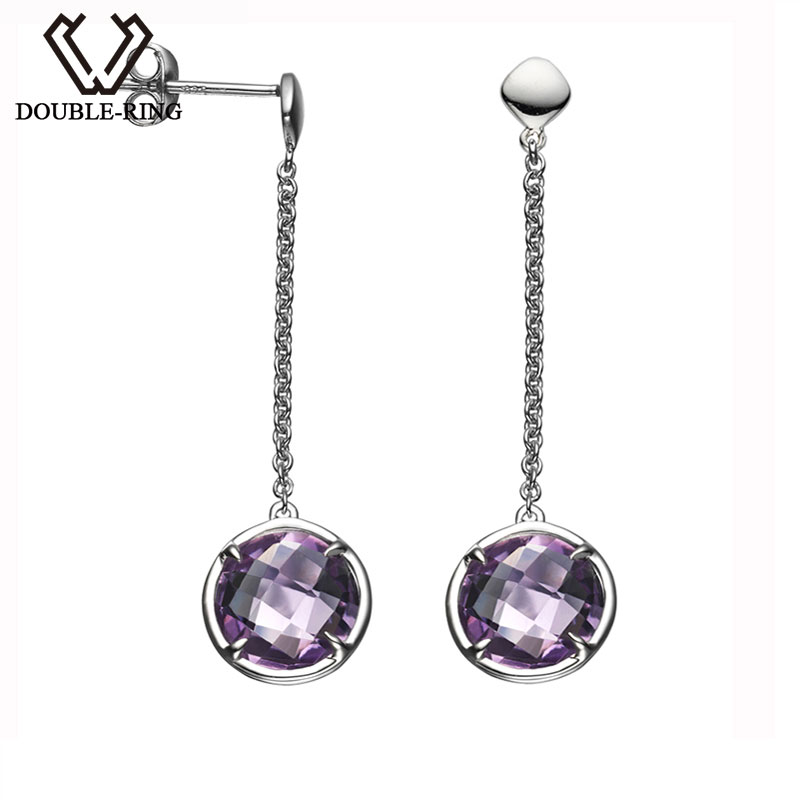 цена на DOUBLE-R Natural Amethyst gemstone earing 925 sterling silver earrings for women drop earrings fashion jewelry