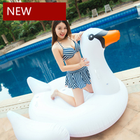 190CM Giant Inflatable White Swan Pool Float 2018 Summer Ride On Swimming Ring Adult Children Beach Party Water Toys Piscina