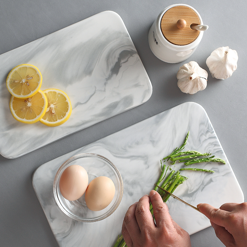 Nordic Marble Chopping Board Ceramics Cuisine Fruit Flat Plate Tray Posing Pizza Tray Western Plate