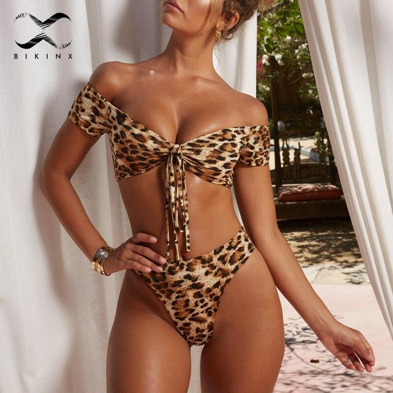 Bikinx Brasilianische tanga bikini Off schulter badeanzug weibliche Leopard bademode hohe taille bikinis 2019 frau badeanzug badenden