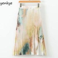 24add0d9ee European Style Summer Skirts Womens Tie Dye Printed Pleated Skirt Lady  Elastic High Waist Midi Skirt. Europejski styl lato spódnice kobiet ...