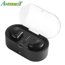 AMTERBEST Mini Bluetooth 4.1 Earphones Headset True Wireless Earbuds Stereo In Ear Earpod