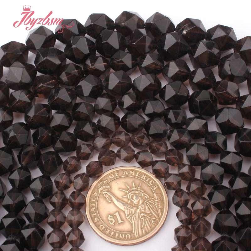 6,8,10,12 мм граненые дымчатые кварцевые Кристальные шарики, натуральный камень, бисер для самостоятельного изготовления ожерелий, браслетов, ...