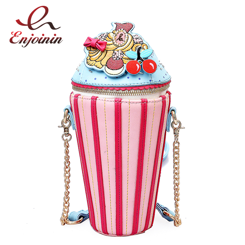 Cute Embroidered Applique Fashion Striped Ice Cream Design Ladies Shoulder Bag Handbag Crossbody Mini Messenger Bag Pouch Flap цена 2017