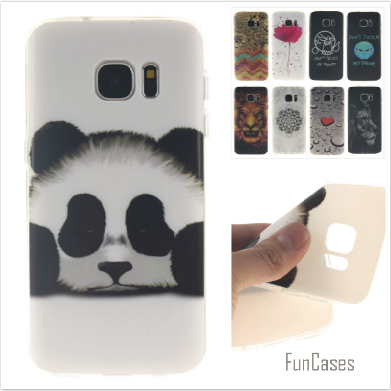 Fashion cute Tiger Lion Pattern soft silicone cover TPU phone Cases for Samsung Galaxy S7 G9300 Flower Cartoon Coque Fundas Capa
