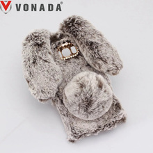 Vonada Plush Case for Samsung Galaxy Note 5 4 3 S5 S6 S7 Edge S8 Plus Cute Rabbit Ears Fur Cover TPU Jewelled Soft Case Cover