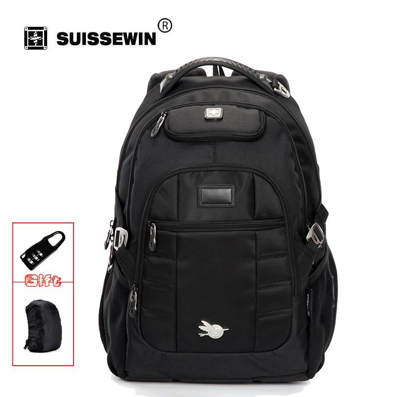 цена на SUISSEWIN Men Fashion Backpack Swisswin Waterproof Laptop Backpack High Quality Nylon School Bagpack Back Pack Sac a dos SN9068