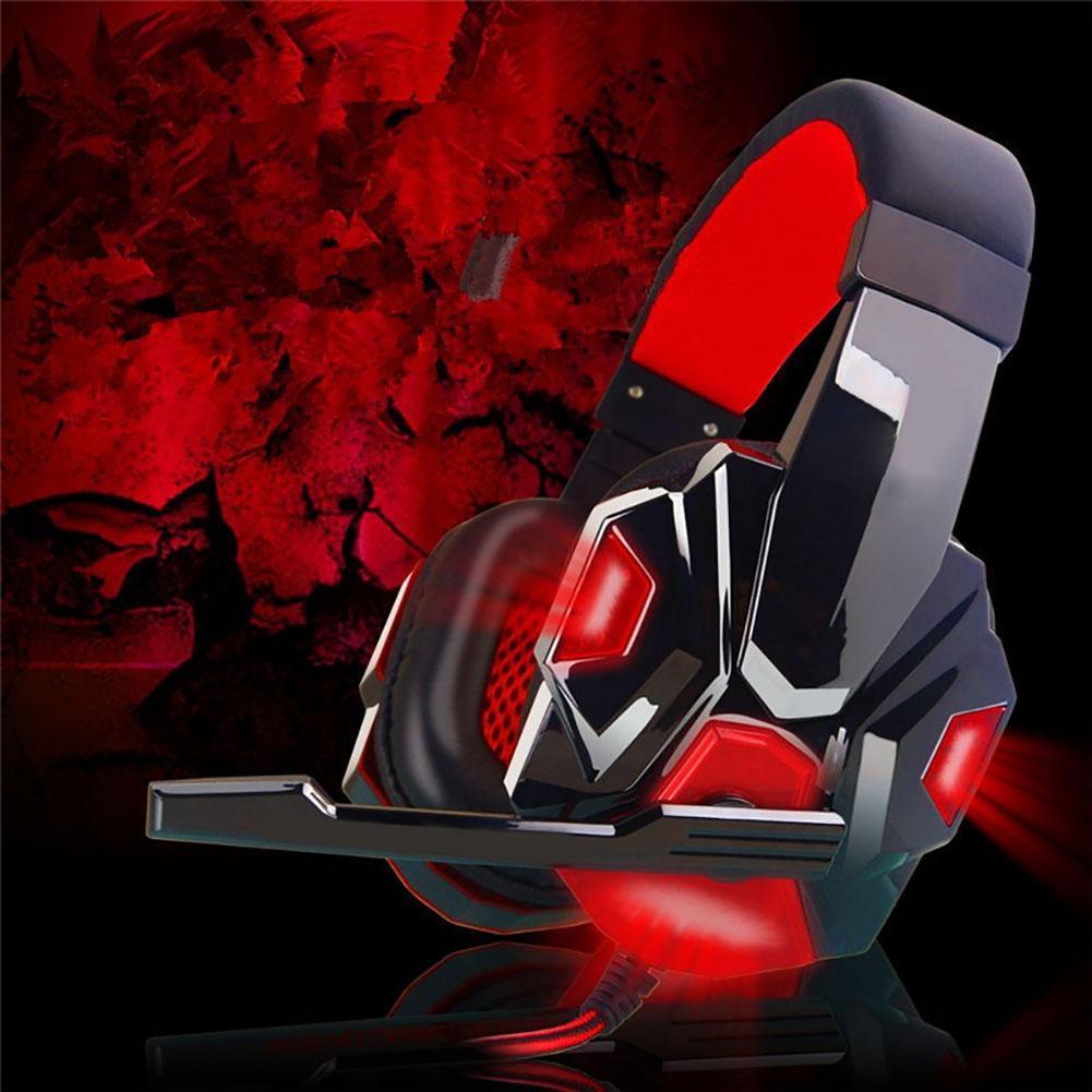 Anti-rumore Luci LED Stereo bass Cuffie Da Gioco Per PC Gamer encouter Glow Cuffie Con MICROFONO USB + 3.5mm Cavo Audio rosso A273