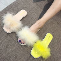 Ostrich Feather Fur Slides Women Flat Heel Beach Shoes Soft Fuzzy Slippers Lady Furry Shoes