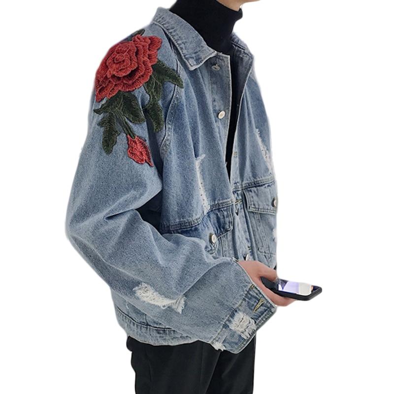 Buracos do Vintage Jeans para Homens e Mulheres Mulheres Jaqueta Jeans Primavera 2019 Calças Jeans Femininas Jaqueta Queda Subiu Bordado Jaqueta Amantes K266