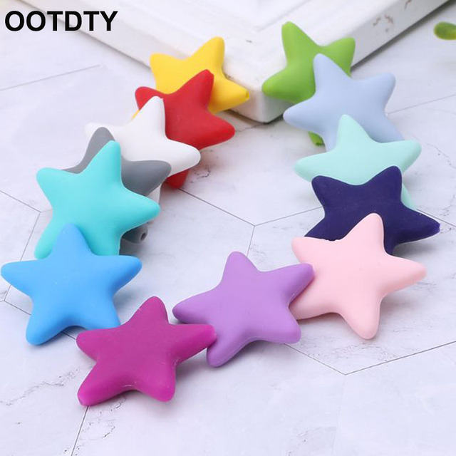 3982cb0294f3 10 Pcs Set Silicone Beads Baby Teether Teething Grind Massage Newborn DIY  Necklace Tool Toys Safe Star Shape Food Grade Bead