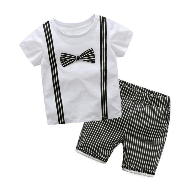 LittleSpring de alta Qualidade Bebê Meninos Roupas Definir Ternos Dos Meninos de Verão Bowknot T-Shirt + Calças Tarja Crianças Menino Puro Conjuntos de algodão Curta