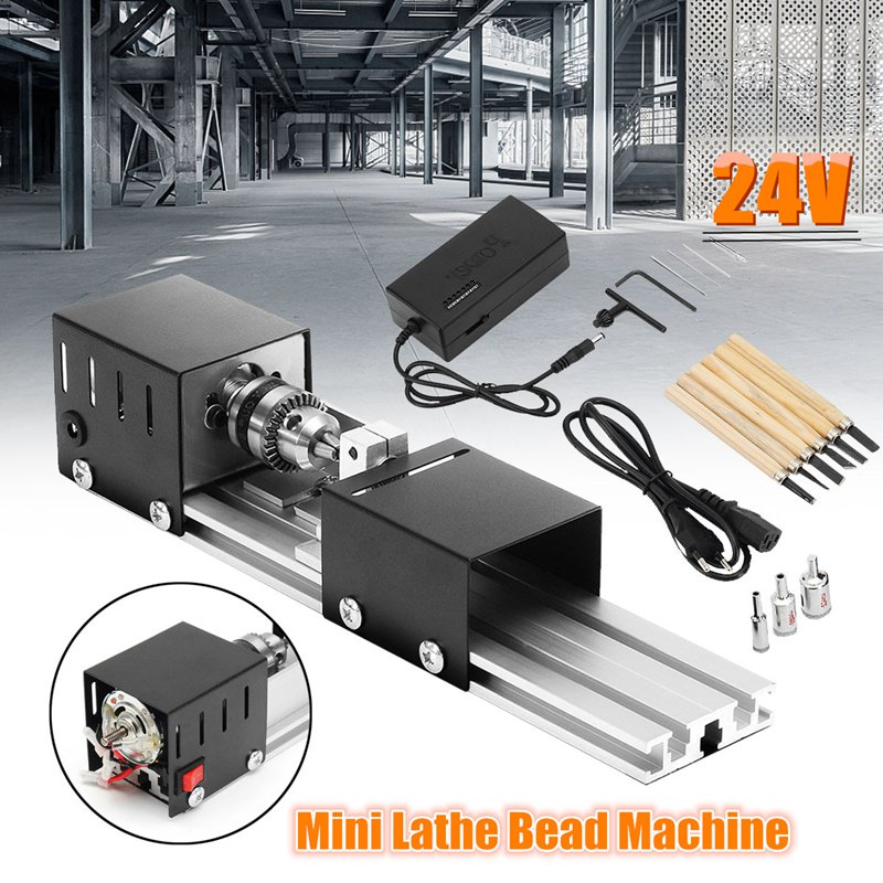 DC 24V 80W Mini Lathe Machine Woodworking DIY Lathe Set with Power Adapter 3 Pcs Beads Round Device 6 Chisel