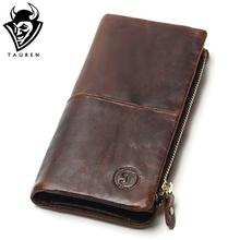 The 2017 New First Layer Of Real Leather Men's Oil Wax Retro High-Capacity Multi-Card Bit Long Wallet  Clutch Men Genuine