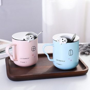 New 3D cat ceramic mug with lid and spoon,Cute animal shaped Porcelain cup offee Cups Breakfast Milk Tea Mug Creative Gift image