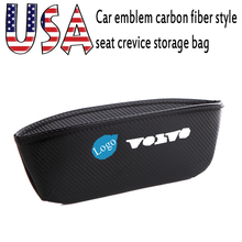 Embroidery USA car emblem carbon fiber style seat crevice storage bag black Automotive interior accessories