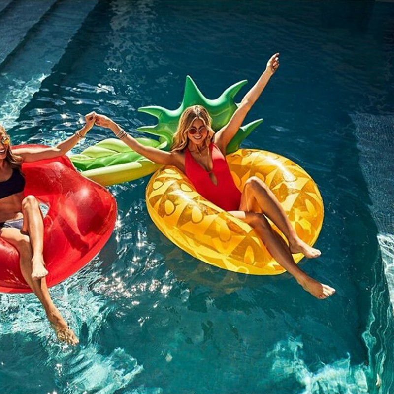New 120cm Swimming Pool Inflatable Pineapple Pool Float Swim Ring Water Sports Inflatable Circle Beach Fun Swimming Rings