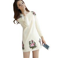 Korean Version Of The New Winter Sweater Female Long Sleeve Head Loose Embroidery Bottoming Sweaters Sweater