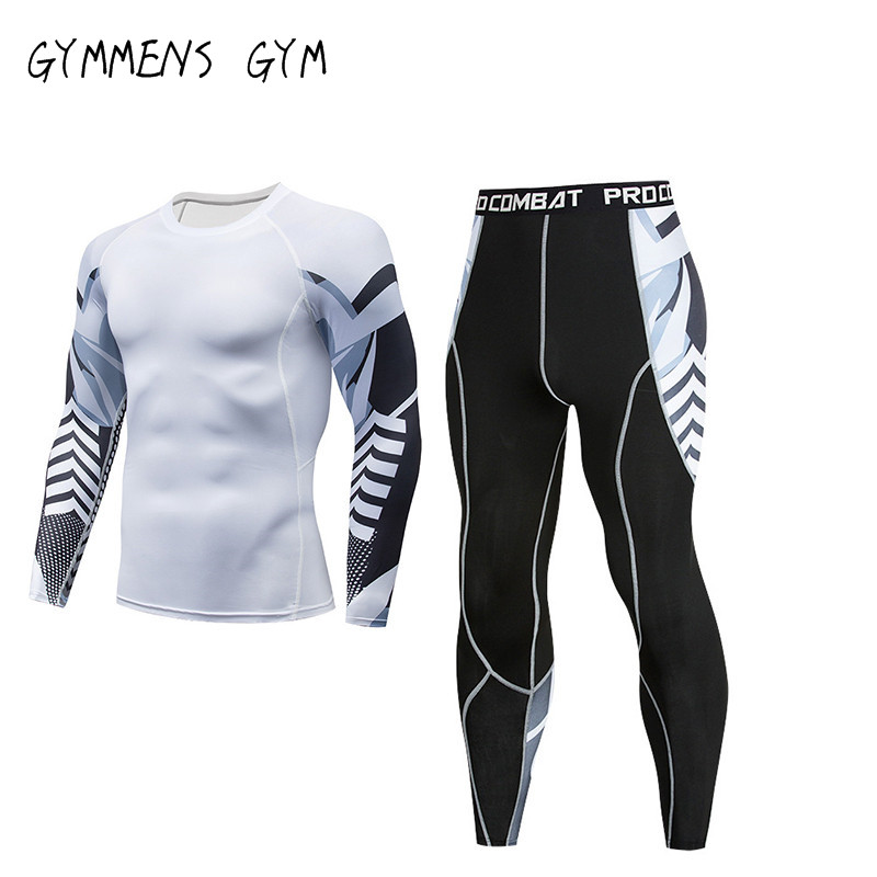 GYMMENS Men's Fitness Suit Compression Gym Tights Amd Shirts Jogging Fishing Cloth Training Compression