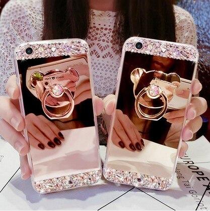 Phone case For Xiaomi redmi 4X cases Silicone new luxury Rhinestone ring Holder mirror Soft TPU Case For redmi 4X Pro Covers