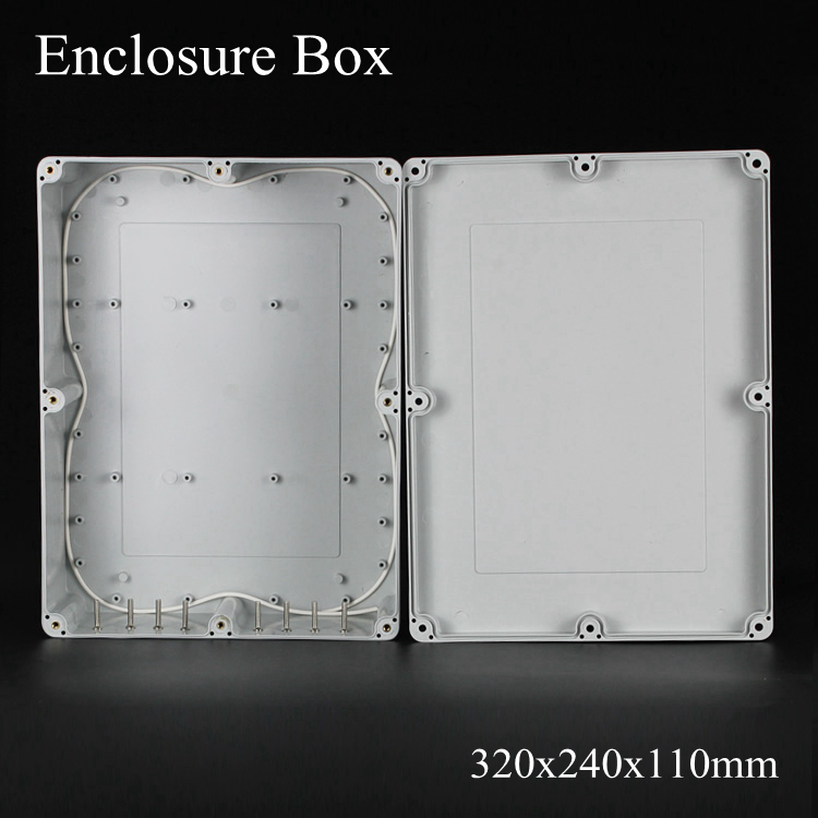 (1 piece/lot) 320x240x110mm Grey ABS Plastic IP65 Waterproof Enclosure PVC Junction Box Electronic Project Instrument Case