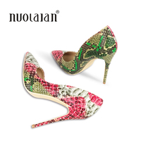 2018 Brand Fashion Women High Heels Snake Printing Women Shoes Stiletto 12CM Heel Height Wedding Party