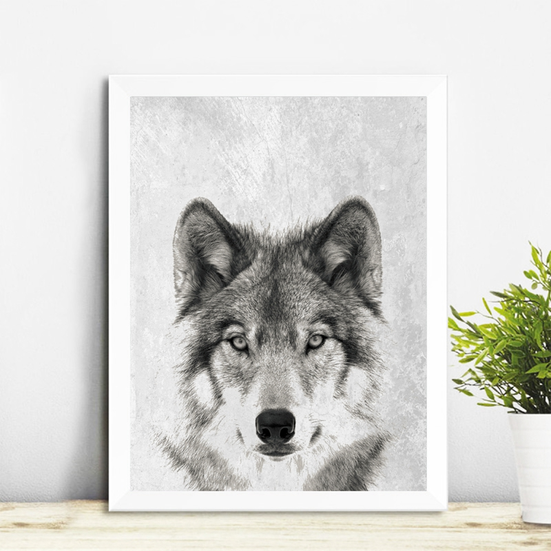Wild Animal Wall Art Wolf Picture Canvas Painting , Black And White Wolf Photo Canvas Print And Poster Home Room Art Wall Decor