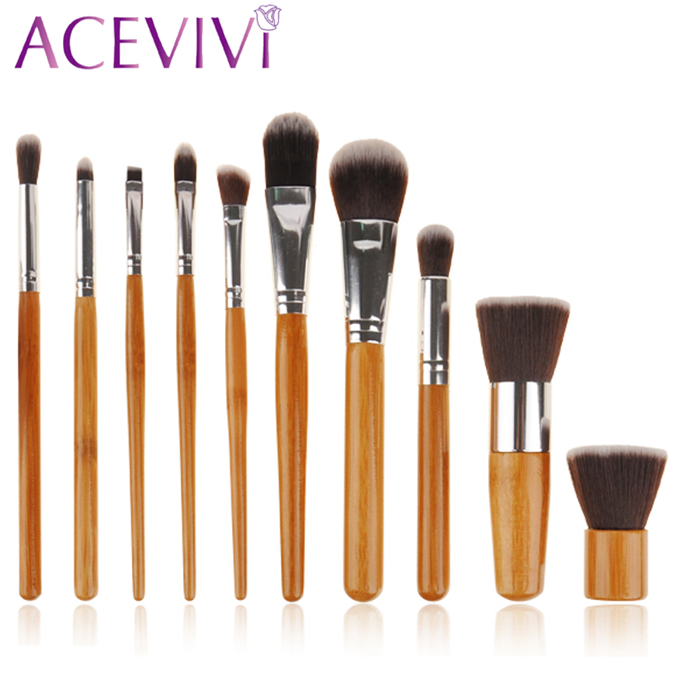 Professional !10 pcs Soft Synthetic Hair Make Up Tools Kit Cosmetic Beauty Makeup Foundation Brush Beige Sets 30 new style professional women lady facial makeup tools cream foundation soft type cosmetic make up brush easy carry