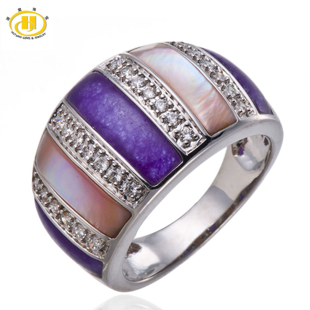 Hutang Purple Pink Mother of Pearl Rings Pure 925 Sterling Silver Ring Fine Elegant Jewelry sterling-silver for Women Best Gift