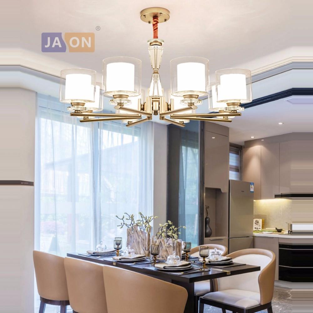 led e14 Postmodern Iron Crystal Glass Nickel Chrome Chandelier Lighting Lamparas De Techo Suspension Luminaire Lampen For Foyer