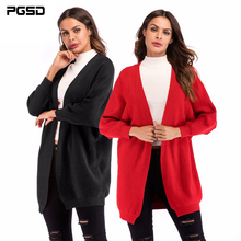 PGSD Autumn Winter Simple Fashion Pure Color Women Clothes Loose medium-length bat sleeve knitted sweater Shawl Cardigan female