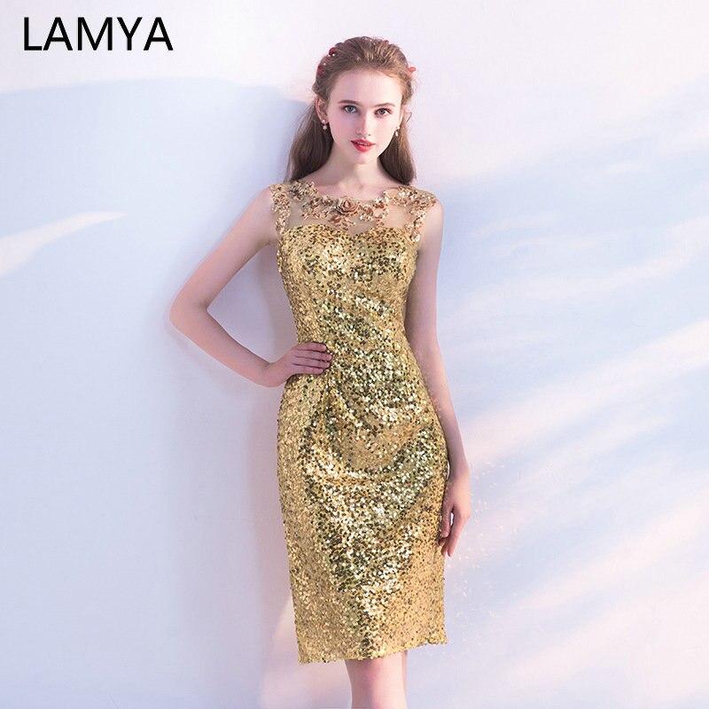 Lamya Knee Length Gold Sequined   Prom     Dresses   2019 Short Straight Evening Party   Dress   Elegant Sleeveless vestidos de festa