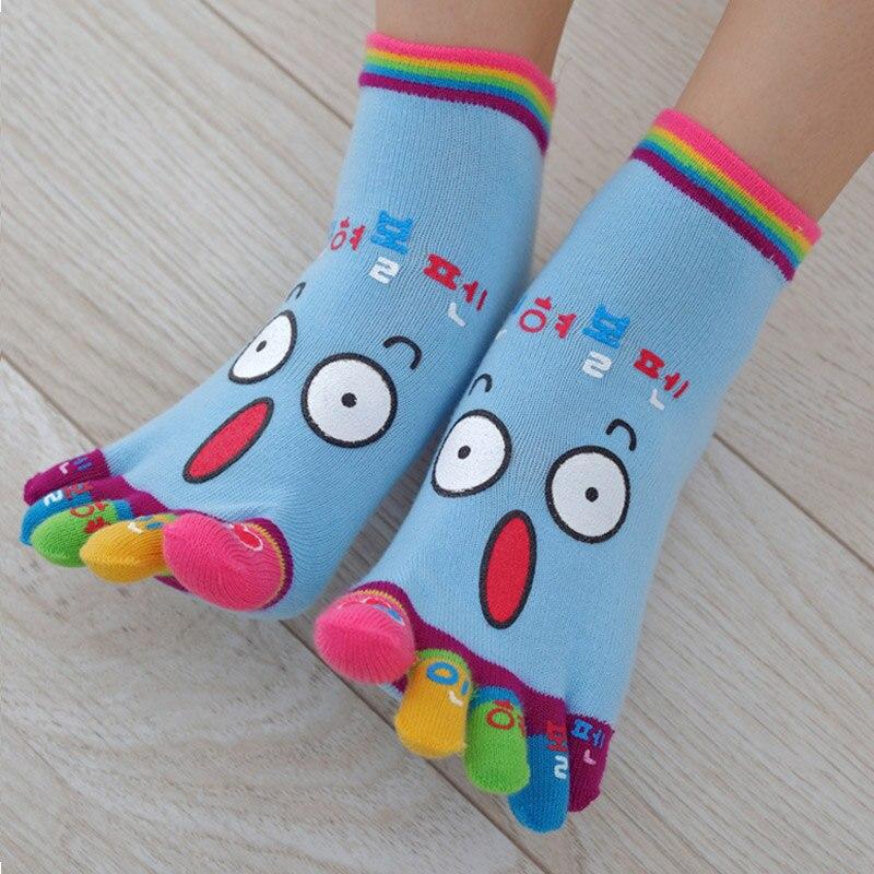 1 Pair Cute Cartoon Smile Print Toe Socks Five Toes Cotton Socks Funny Socks FS99