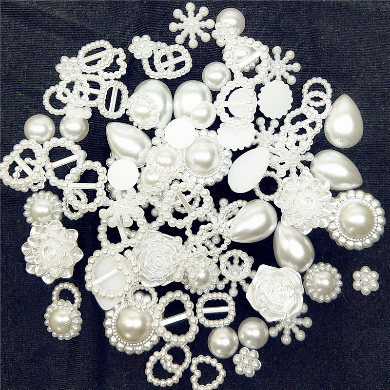 50pcs/pack White MIX Half Round Pearls Seastar Bow Rose Rhinestone Flat Back Pearls Bead Loose Beads Gem Rhinestones Pearl