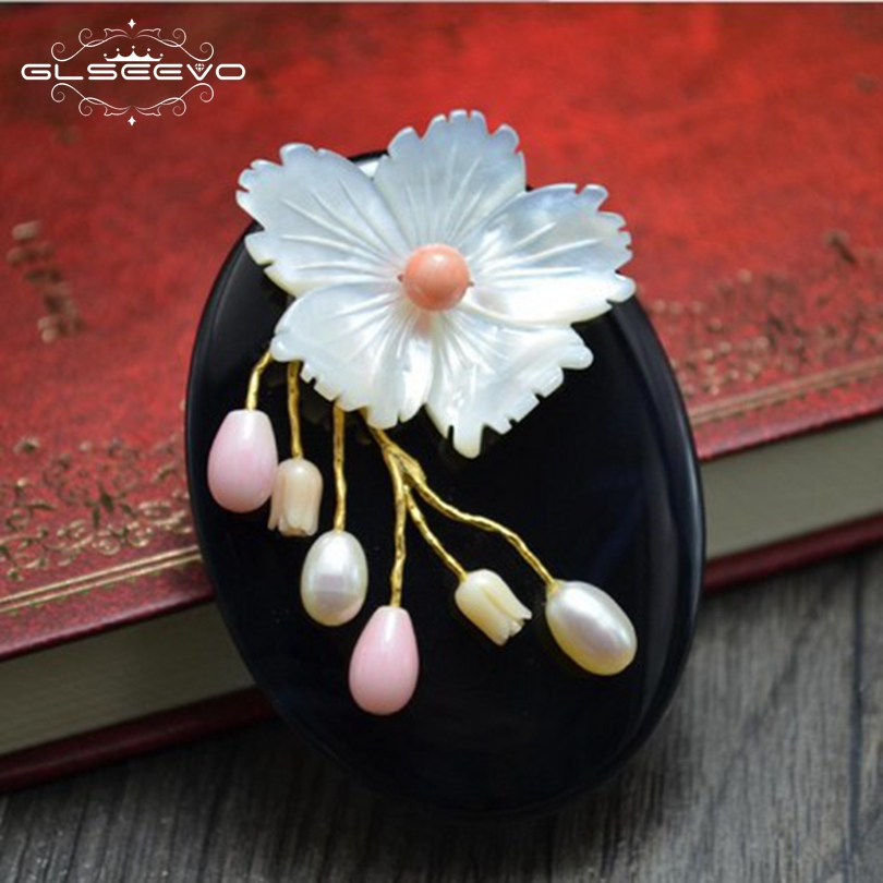 GLSEEVO Luxury Natural Mother-Of-Pearl Flower Brooch For Women Gift Agate Pendant Brooch Pin Dual Use Fine Jewelry GO0065 цена