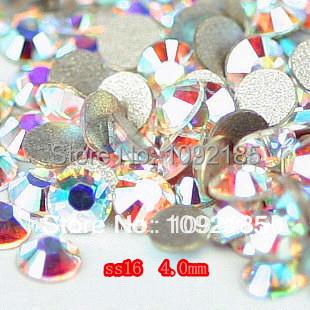 Pedras de strass e cristais frete grátis! Aaa + ss16 1440 unidades/pacote 3.8 - 4.0 mm cristal ab rhinestone plano voltar natator pedrinhas