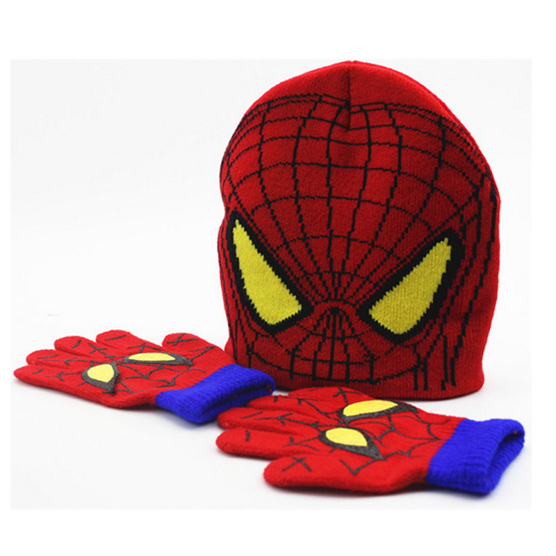 ALLKPOPER   Beanie   Warm Winter Hat Gloves hat Set Children's Cartoon Kids Baby Warm Knitted Caps Spiderman   Skullies   &   Beanies