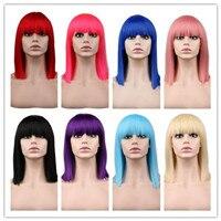 QQXCAIW Kurze Gerade Cosplay Perücke Für Party Kostüm Rot Blonde blau Grün Rosa 40 Cm Hochtemperaturfaser Synthetische Haar perücken