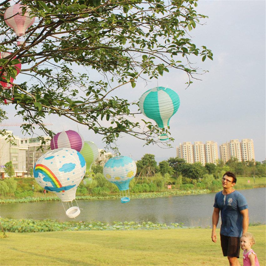 Rainbow Printing Paper Lantern 30cm 1pc Hot Air Balloon Wedding