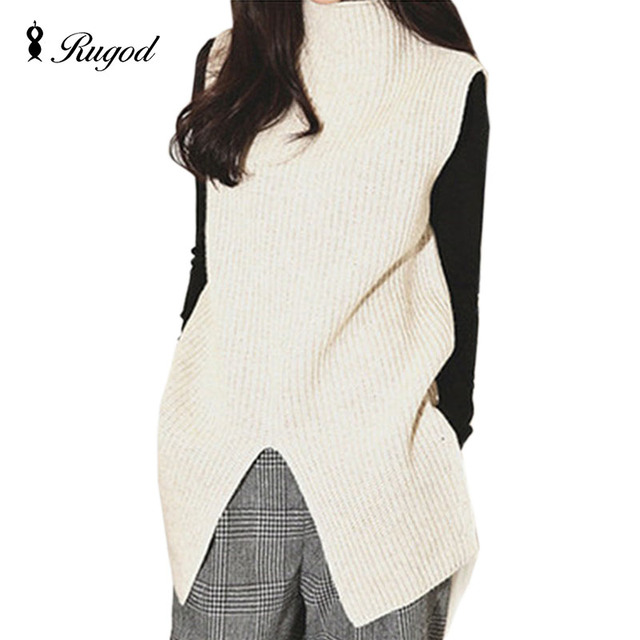 dd6443f9162ac5 RUGOD 2018 Autumn Winter New Loose Sleeveless Turtleneck Knitted Sweater  Vest Women Sweaters All-match