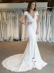 Robe mariage 2019 сексуальные платья русалки с открытой спиной с глубоким v-образным вырезом без рукавов белые свадебные платья