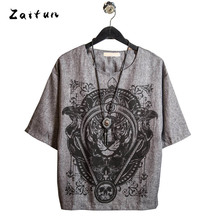 ZAITUN Summer Tiger Pring Men t shirts Cotton Linen Swag Half Sleeve Hip Pop Harajuku Style Fashion Casual Streetwear Brand Tops