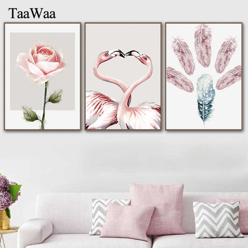 Pink Flamingo Feather Flowers Posters and Prints Wall Art Canvas Painting Nordic Decoration Pictures for Living Room Home Decor