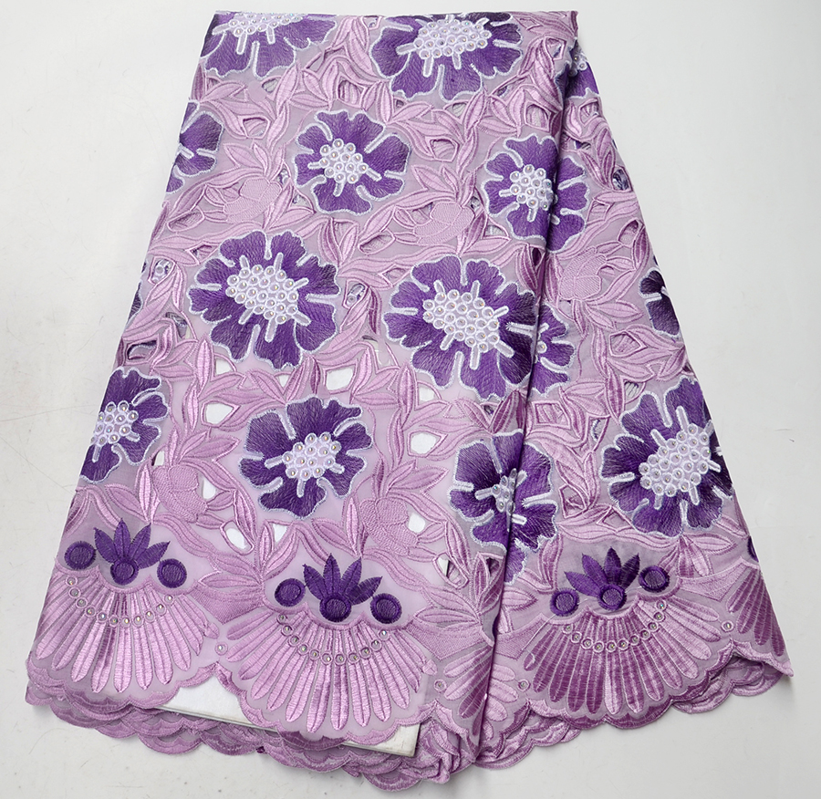 Beautiful Purple color African Cotton Lace Fabrics High Quality Dry Lace Fabric Swiss Voile Lace In Switzerland For Women DressBeautiful Purple color African Cotton Lace Fabrics High Quality Dry Lace Fabric Swiss Voile Lace In Switzerland For Women Dress