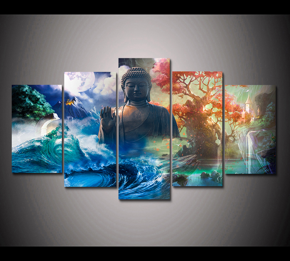 HD Print 5 Panels Feng Shui canvas wall art landscape  Buddha Painting home decor wall art picture for living room decor PT1653