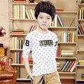 Nueva Llegada 2017 niños Camisetas de manga larga Primavera y Otoño muchachos grandes de la manera de Tocar Fondo camisa de Los Niños del enchufe de fábrica de Ropa