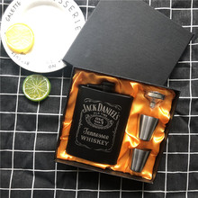 New Mini 8oz All black paint Whisky Flagon Laser cccp Stainless steel alcohol Funnel Jack Hip Flask Black Gift Box Set LPPUNK marvis black box gift set