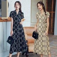 French Style Platycodon Dress Women Summer 2019 Fashion Tend Vintage Dot Short Sleeve V Neck Slim Long Dress